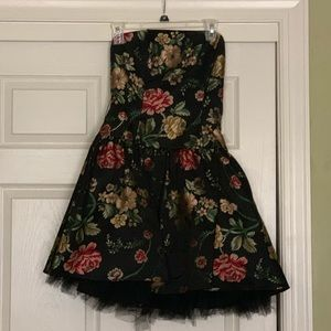 Black Floral Formal Dress with Multiple Sashes